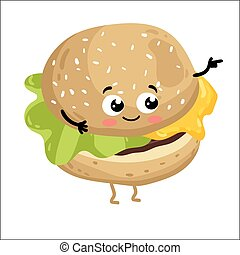 Funny cheeseburger isolated cartoon character