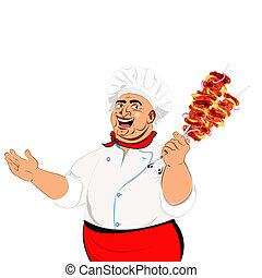 Funny Chef and skewer with cheese - Funny Chef and delicious...