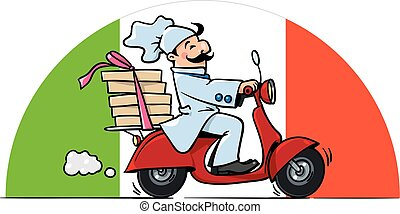 Funny chef on scooter. Pizza delivery