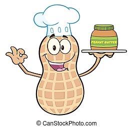 Funny Chef Peanut Character