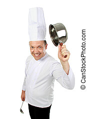 funny chef smiling - Portrait of funny male chef with pan...