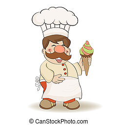 funny chef with icecream