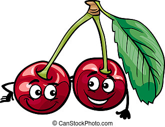 funny cherry fruits cartoon illustration