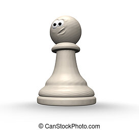 funny chess pawn - white chess pawn with comic face - 3d...