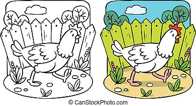 Funny  chicken coloring book.