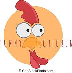 funny chicken mascot vector design template illustration
