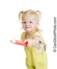 Funny chil in eyeglasses pointing by red pencil isolated