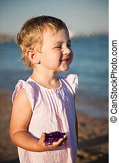 Funny child at the beach