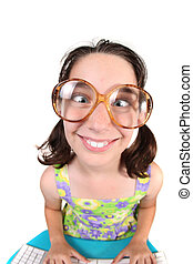 Funny Child Crossing Her Eyes Wearing Large Eye Glasses