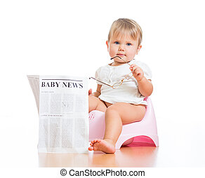 funny child girl sitting on chamberpot with eyeglasses and ...