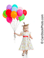Funny child girl  with bunch of colorful ballons in her hand. Isolated on white.