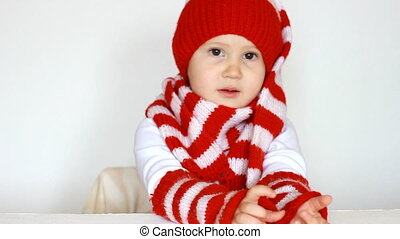 Funny child - helper Santa Claus, close-up. The concept of...