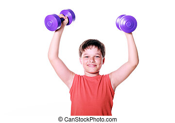 Funny child playing sports with weights isolated on white ...