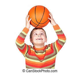 Funny child with a basketball