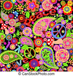 Funny childish abstract colorful wallpaper with hippie symbolic