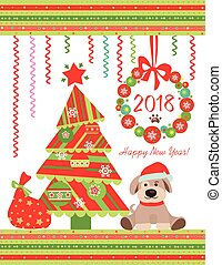 Funny childish applique for 2018 New year with Xmas tree, Christmas wreath and funny sitting puppy