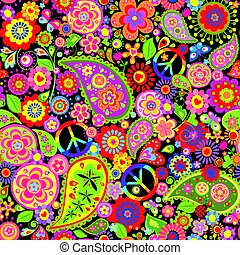 Funny childish floral wallpaper with colorful hippie peace symbol