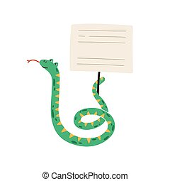 Funny childish snake holding empty sign with a place for text. Adorable wild animal demonstrating blank banner or card on stick. Vector illustration in flat cartoon style