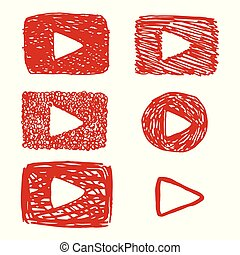 Funny childish video button, red play button like youtube or videoplayer, vector icon in hand-drawn style