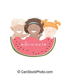 Funny children eating watermelon