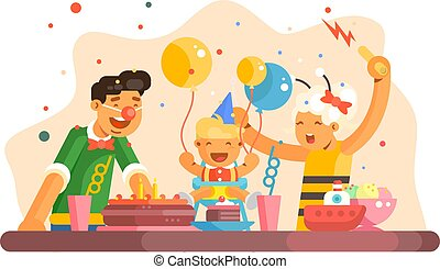 Funny children party vector illustration. Cheerful family...