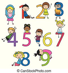 Funny children with numbers