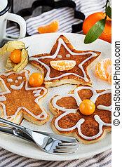 Funny children's pancakes for breakfast