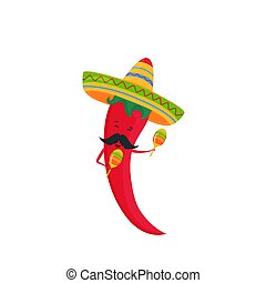Funny chili pepper in a sombrero with maracas. Festive poster