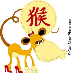 Funny Chinese zodiac. Monkey - Cute applique monkey for...