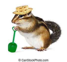 Funny chipmunk with straw hat and shovel, farmer concept