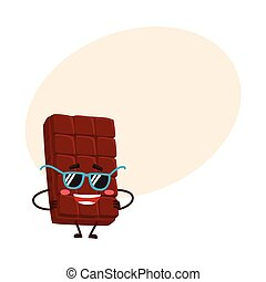 Funny chocolate bar character in funky sunglasses, with arms akimbo