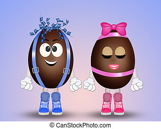 funny chocolate eggs cartoon - funny illustration of...