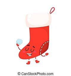 Funny Christmas boot, stocking character, cartoon vector...