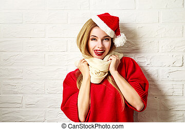 Funny Christmas Girl in Red Winter Clothes