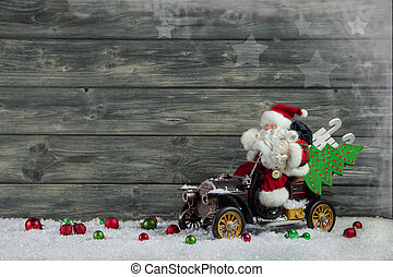 Funny christmas greeting card with santa claus and xmas presents