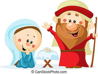 Funny Christmas nativity scene with holy family - Christmas crib, baby Jesus, virgin Mary and Joseph (cute vector illustration)