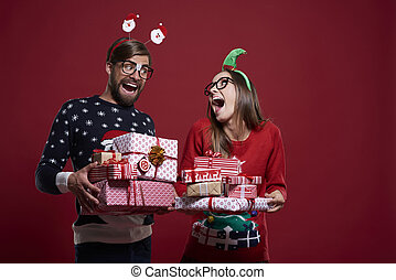 Funny Christmas nerds with presents