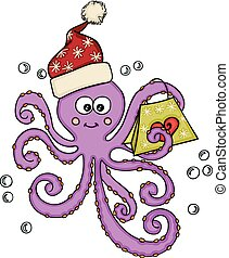 Funny Christmas Octopus