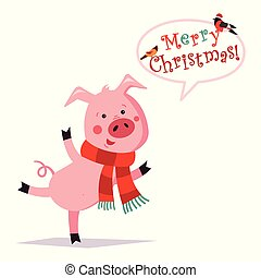 Funny Christmas pig. Greeting card. Merry christmas and a happy new year. Pig in a scarf. Vector illustration