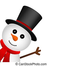 Funny christmas snowman in hat isolated on white