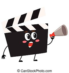 Funny cinema production clapper board, clapboard character with human face