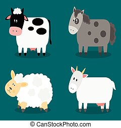 Funny cloven hoof farm animals collection. Isolated sheep,...