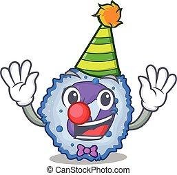 Funny Clown basophil cell cartoon character mascot design. ...
