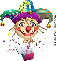 Funny clown buffoon head to jump out of box. Fools Day...