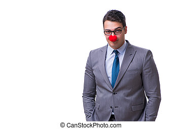 Funny clown businessman isolated on white background