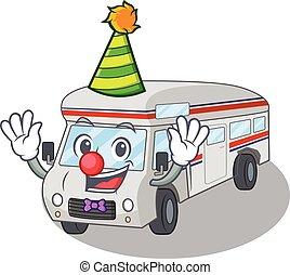 Funny Clown campervan cartoon character mascot design