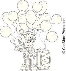 Funny clown drummer