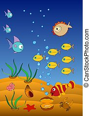 funny clown fish and hedgehog fish swim in the blue sea