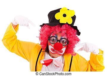 funny clown - funny crazy clown with a strange face (...