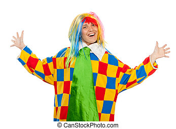 Funny clown girl in rainbow wig